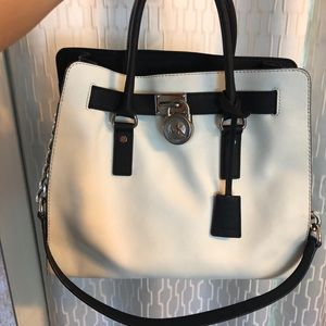 Michael Kors White and Black Hamilton Bag